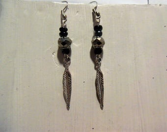 Earring beads and feathers