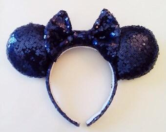 Navy Blue Sequine Ears