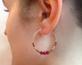 Hoop earrings-gold plated - ELIA copper Hematite - pink agate - Japanese beads