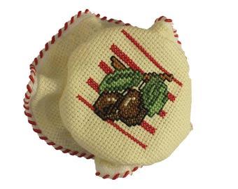 CHARLOTTE handmade embroidered cross stitch: olive