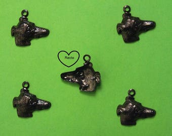 LOT 5 METALS black CHARMS: Greyhound 14 mm head