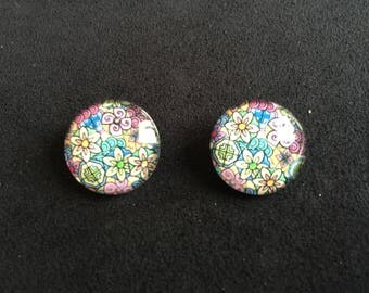 Snap jewelry pendant floral multicolor head 5.5 mm