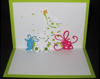 Christmas card 3D Teddy bear and tree gifts