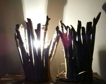 Pair lamps in driftwood, gift idea