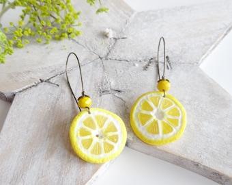Yellow lemons lemon earring earrings