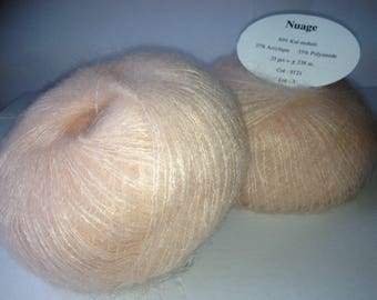 set of 10 pastel salmon KID MOHAIR wool yarn