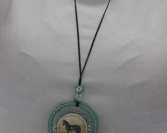 Dream catcher horse necklace