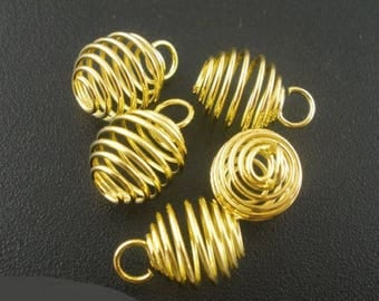 2 pendants spiral cage bead 8 x 9 mm