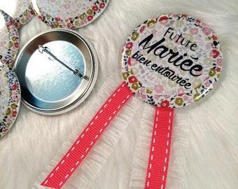 Bachelorette party Kit: 1 rosette + 4 badges (56 mm diameter) Bachelor bachelorette party