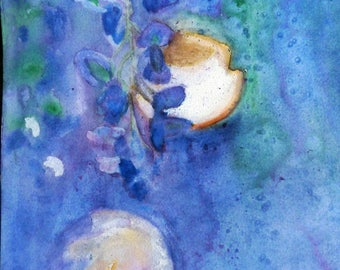 watercolor of fruits and flowers, Symphony of Blues