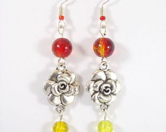 Earrings silver metal for cracked glass yellow and red flowers connector beads.