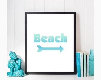 Beach Arrow Download, Beach Print with Arrow, Coastal Wall Art, Digital Download, Beach Arrow, Instant Download, Beach Poster, Printable