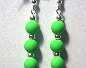 Dangle earrings neon green acrylic bead/party/gift/birthday
