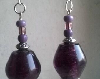Pearl Earrings glass purple