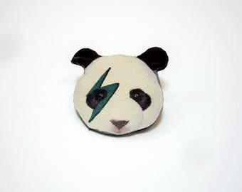 Rock leather panda head pin