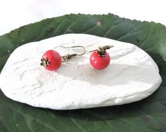 Vintage Red Apple ceramic bead earrings on hook bronze.