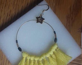 Earrings hoops yellow tassels
