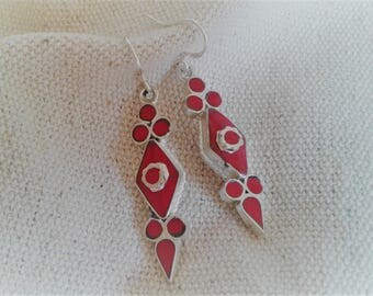 Red ethnic earrings