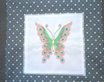grey Cushion cover, butterfly embroidery machine, on canvas, all on 100% cotton canvas