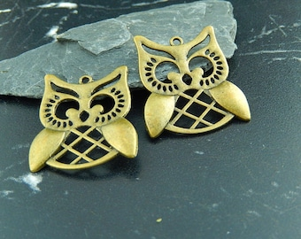 1 antique bronze OWL charm pendant