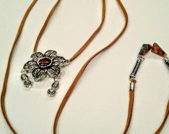 Tan wrap necklace,wrap choker,flower necklace