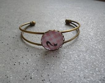 Cat bracelet of brass and glass cabochon