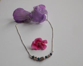Botswana agate and chrysocolla beads necklace