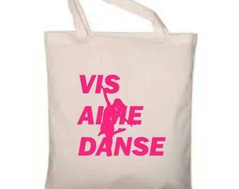 """Cotton bag ecru 38x42cm """"Live, love Dance"""" choose colors"""