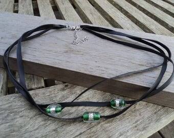 The Choker necklace made with recycled tractor inner and green and silver glass beads
