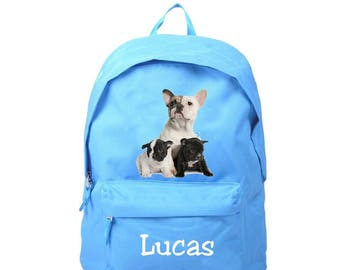 bag has blue french Bouldogs personalized with name