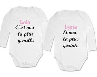twin Bodysuit set I'm the nicest and... personalized with name
