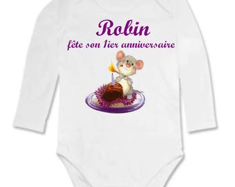 Bodysuit little mouse and cake personalized with name