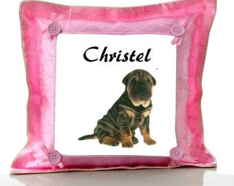 Cushion Pink Sharpei personalized with name