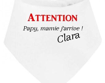 Attention baby bib bandana Grandpa Grandma... personalized with name