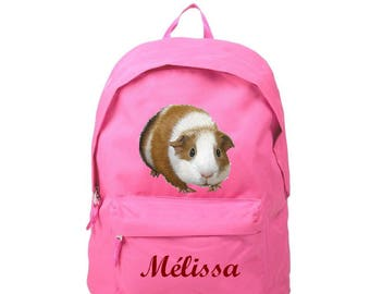 Pink pig backpack from India personalized with name