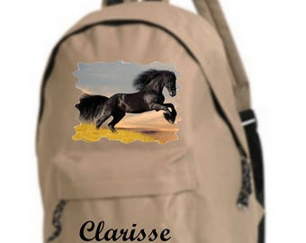 bag has beige horse personalized with name