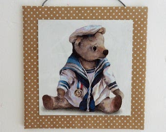 Textile painting and collage, little bear marrin!