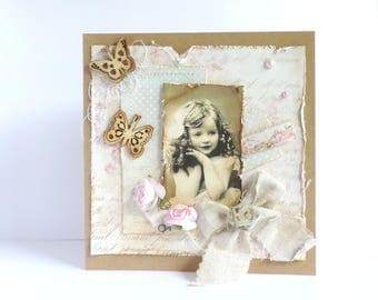 romantic shabby, customizable card.  vintage inspired, hand-made