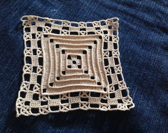 square inlay made hand crochet lace