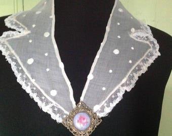 Vintage organdy, tailoring, large satin collar