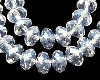 Set of 20 glass beads with faceted - Crystal - 8 x 6 mm T5