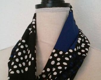 Black and blue infinity scarf Snood electric with polka dots