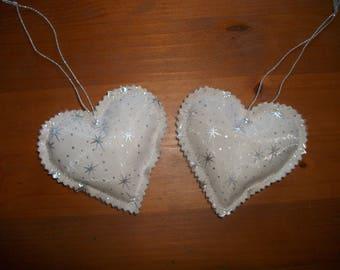 2 small Pincushion with door heart hanging decoration handmade Christmas stars