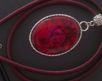 Mother of Pearl abalone on Burgundy silk cord and metal pendant