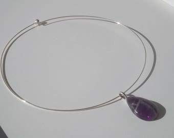 Torque with pendant drop Amethyst.