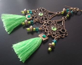Bronze Earrings: Green PomPoms