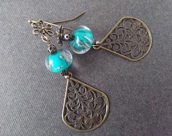 Bubble glass and filigree dangle earrings