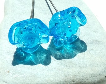 2 blue roses - handmade Lampwork Glass