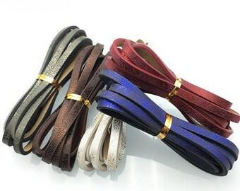 120cm strap faux leather shiny iridescent, 3 color 5mm