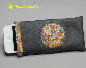 Faux grey leather and liberty phone case